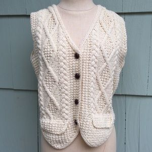 Una O'Neil Hand Knit Wool Vest S